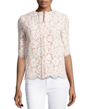 Floral Lace Short-Sleeve Top, Cream