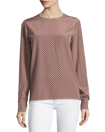 Geometric-Print Silk Long-Sleeve Top