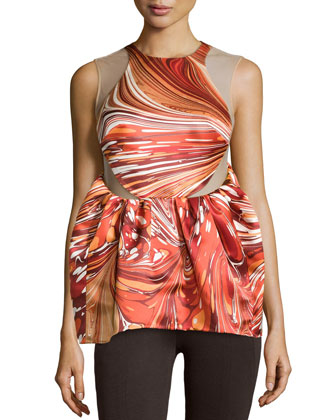 Sleeveless Printed Silk Illusion Top