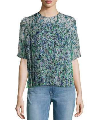 Pleated-Front Print Top