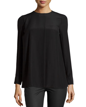 Long-Sleeve Silk Top, Black