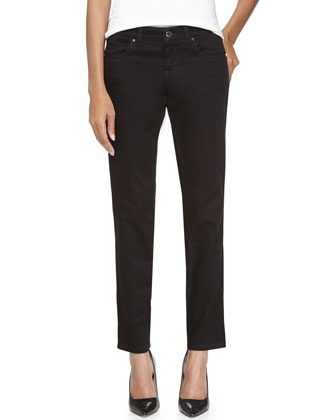 Straight-Leg Ankle Jeans, Black