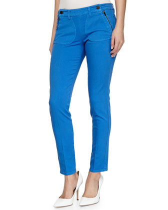 Skinny Zip-Pocket Ankle Jeans, Blue