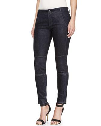 Denim Ankle-Zip Jeans, Blue