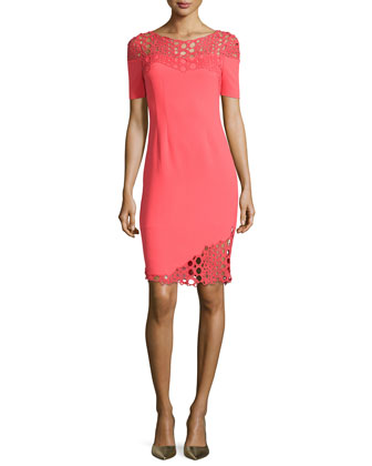Tabitha Eyelet-Detail Sheath Dress
