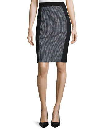 Kim Tweed-Panel Pencil Skirt