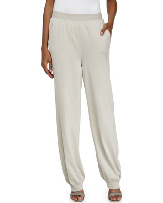 Cotton Knit Tapered Leg Pants, Cream