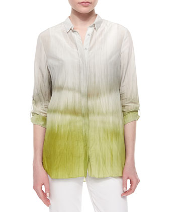 Carly Printed Pleated-Back Blouse