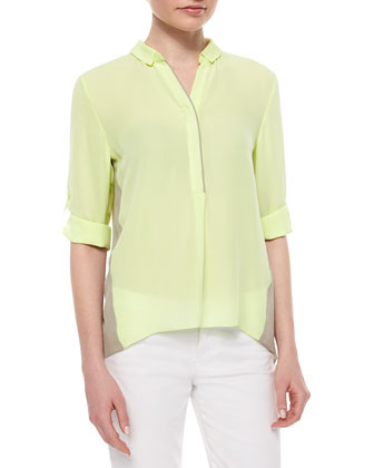 Kasha Silk Colorblock Blouse, Tan/Neon