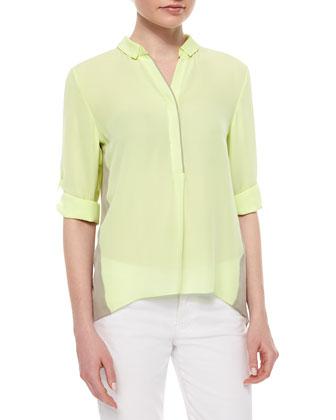 Kasha Silk Colorblock Blouse, Tan/Neon