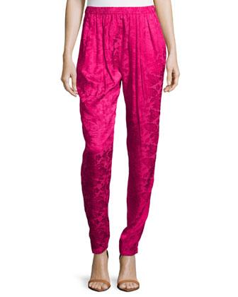 Jacquard Print Pants, Fuchsia