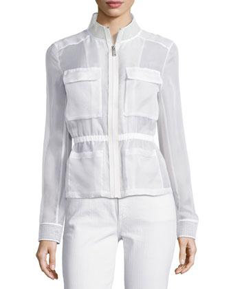 Katya Zip-Front Organza Jacket