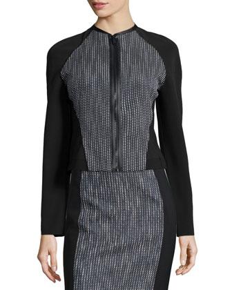 Sydney Tweed Zip-Front Jacket, Neely Silk Crepe Tank & Kim Tweed-Panel ...