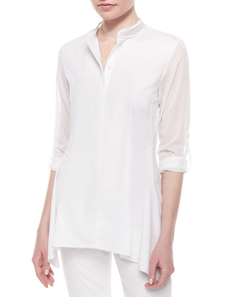 Sabella Long-Sleeve Blouse W/Mesh Detail