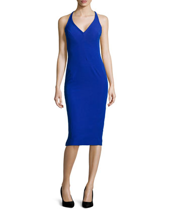 Stretch Cady Midi Dress, Blue