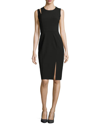 Asymmetric-Vent Stretch Cady Dress, Black