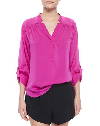 3/4-Sleeve Silk Crepe Blouse