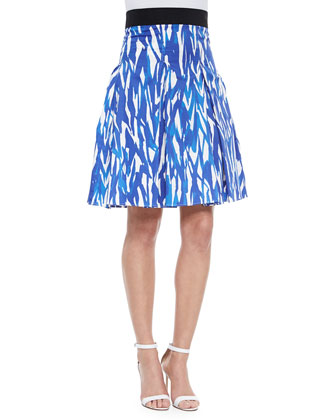 Brushstroke-Print Pleated Skirt, Blue/White