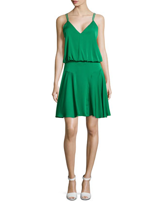 Crepe Racerback Dress, Emerald