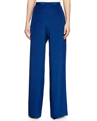 Flared Silk Trousers, Blue