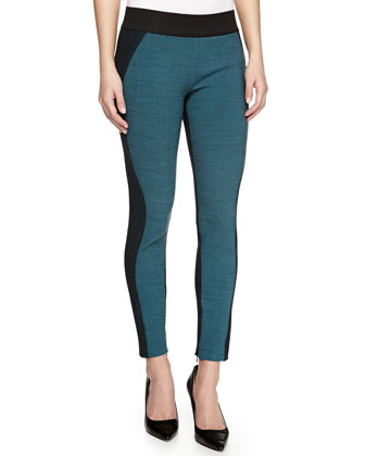 Fitted Melange Knit Trousers, Blue/Black