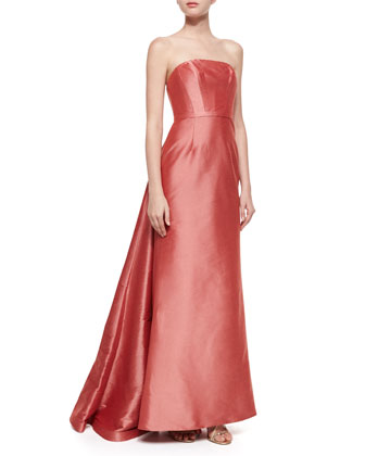 Strapless Back-Draped Gown