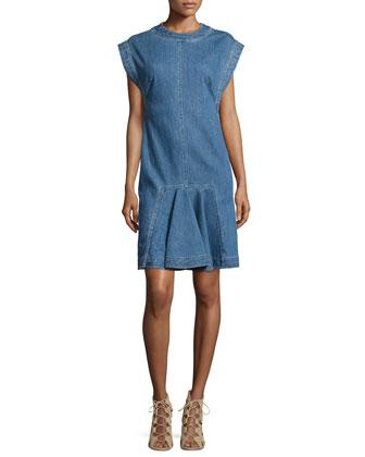 Denim Short-Sleeve Shift Dress, Blue