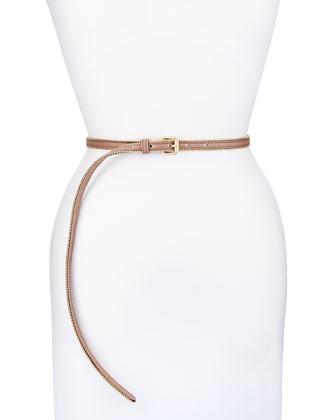 Golden-Beaded Skinny Belt, Pink