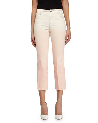 Ombre Cropped Denim Trousers, Peach