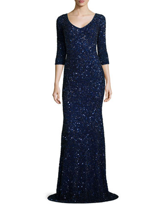 Sequin V-Neck Trumpet Gown, Indigo