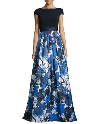 Floral-Print Cap-Sleeve Gown, Navy/Cobalt