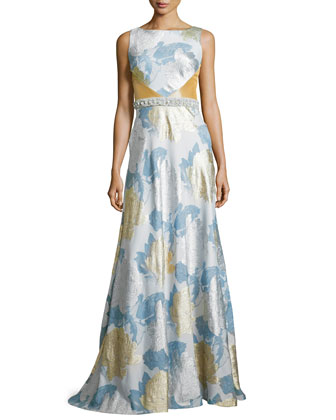 Floral Brocade Gown, Silver/Gold