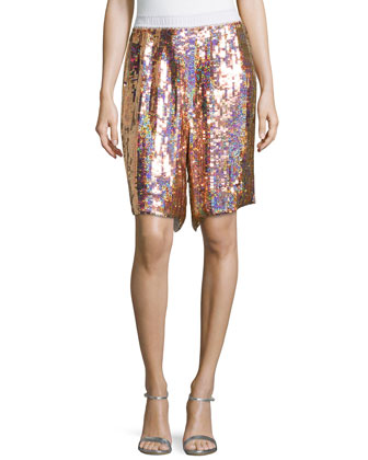Sequined Silk Shorts
