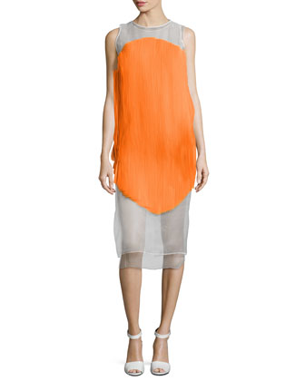 Sheer Plisse Mid-Length Dress, Orange