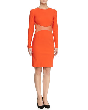 Long-Sleeve Mesh-Waist Dress, Orange