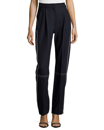 Piped Wool Trousers