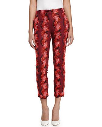 Floral Slim-Fit Ankle Pants, Red