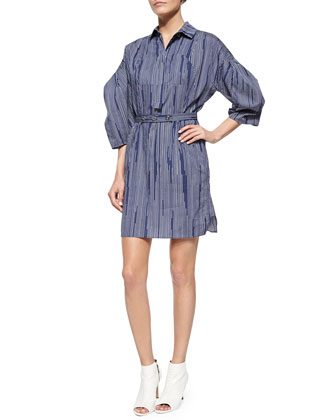 Pinstripe Balloon-Sleeve Shirtdress