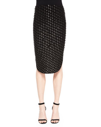 Metallic Tube Knit Pencil Skirt, Black
