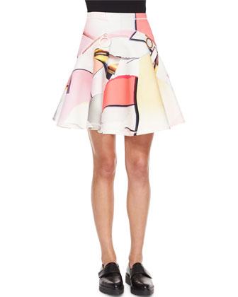 Paper-Print Neoprene Circle Skirt