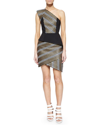 Asymmetric Natural Selection Peplum Dress, Black/Gold