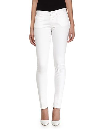 Skinny Cotton-Blend Trousers, White