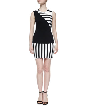 Asymmetric Striped Sheath Dress, Black/White