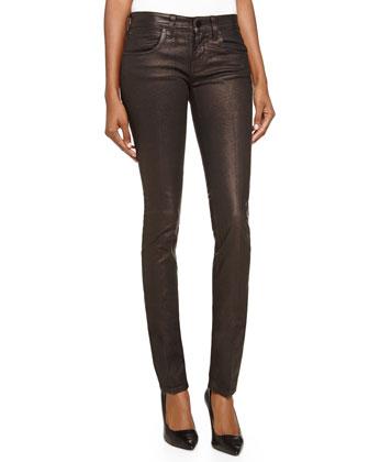 Mid-Rise Skinny Denim Jeans, Brown