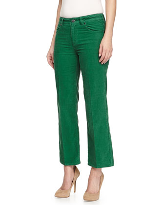 Cropped Soft Twill Pants, Green