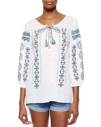 Embroidered 3/4-Sleeve Tunic