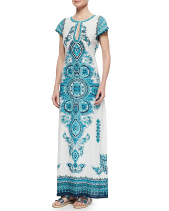 Mevora Printed Embroidered Maxi Dress