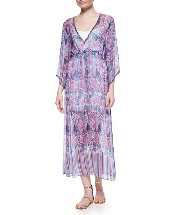 Jinerva Printed Chiffon Maxi Dress