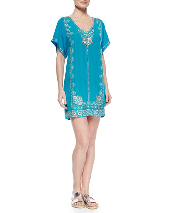 Stacey Sequined Embroidered Silk Dress