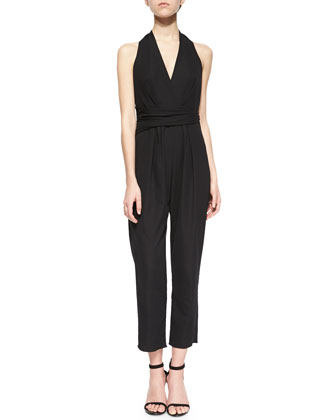 Wrap-Waist Sleeveless Halter Jumpsuit